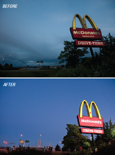 Before and After shots showing the increased illumination from this LED retrofitting project.